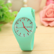 Excellent Quality Brand New Geneva Watches Women Sports Candy-Colored Jelly Silicone Strap Leisure Watch Relojes Mujer Christmas