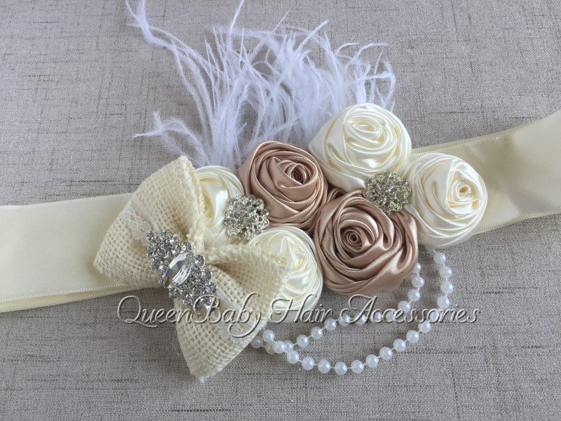 5pcs/lot  Ivory Satin Rosette Matching Sparking Rhinestone Flower Sash Burlaps Bow Sash Belt  Maternity Sash-in Hair Accessories from Mother & Kids    2