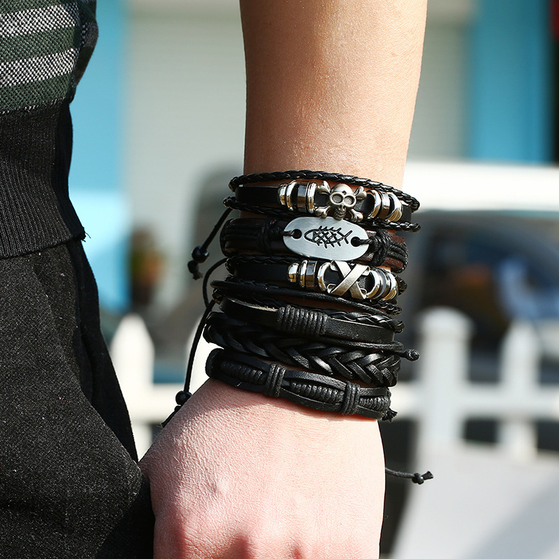 Vintage Alloy Genuine Cowhide Leather Bracelet DIY leather accessories hip hop Retro knitted bracelet Skeleton men woven jewelry in Charm Bracelets from Jewelry Accessories