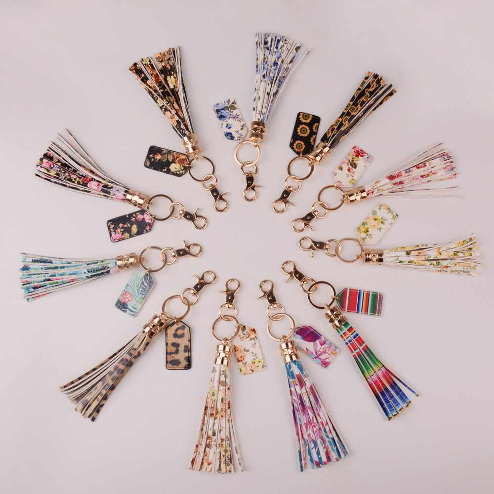 Дождевик 2019 многоцветный монограмма кожа кисточкой женская сумка для ключей кулон сплав автомобильный брелок кольцо держатель Ретро ювелирные изделия