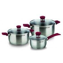Набор посуды RONDELL RDS-817 (2 кастрюли и ковш из нержавеющей стали, 3 крышки из термостойкого стекла, внутренние отметки литража, для всех видов плит)