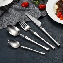 Hot Sale 4 Pcs True color Spindle type Dinnerware knife 304 Stainless Steel Western Cutlery Kitchen Food Tableware Dinner Set