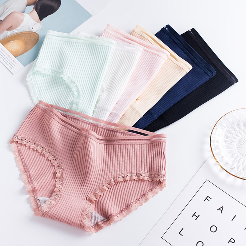 Women Underwear 2019 Girl Briefs Lingerie Lace Panties Cotton Solid Middle Waist Sexy Women Tights Underpants