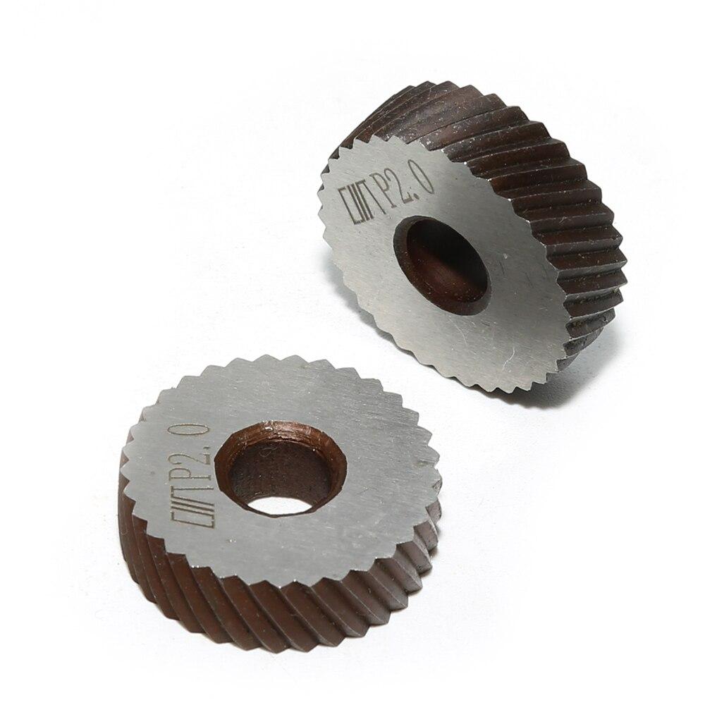2PCS 26x8x8mm Silver Steel Knurling Tool Diagonal Wheel Linear Knurl 2mm Pitch