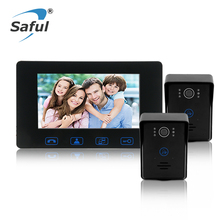 Saful 7'color TFT LCD Waterproof wired video door phone door video intercom for Home Electric unlock function with Night vision