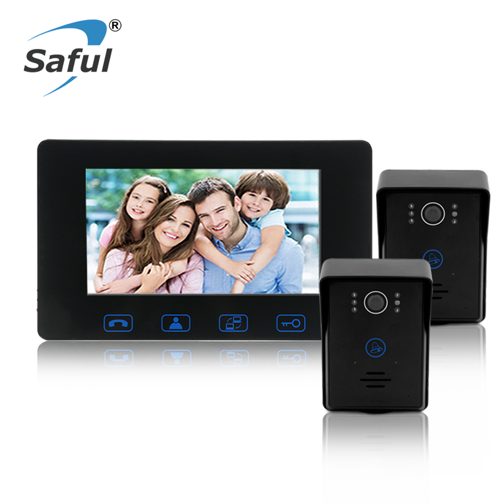Saful 7'color TFT LCD Waterproof wired video door phone door video intercom for Home Electric unlock function with Night vision sunflowervdp wired video door phone 7inch tft color lcd inner door bell fingerprint code unlock touch button intercom video kit