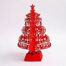 Christmas Tree Gifts 3D Laser Cut Pop Up Cards Handmade Decoration Greeting Card Merry Christmas Party Supplies
