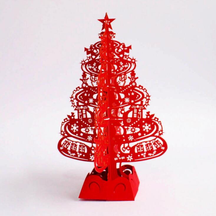 Christmas Tree Gifts 3D Laser Cut Pop Up Cards Handmade Decoration Greeting Card Merry Christmas Party Supplies creative gifts 3d pop up card greeting