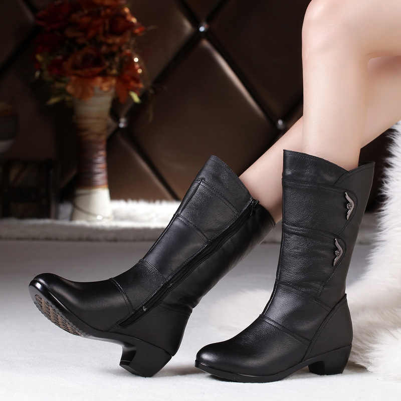 DONGNANFENG ผู้หญิงแม่หญิงสุภาพสตรีสุภาพสตรีรองเท้า Botas รองเท้าส้นสูงเข่า Bling สีดำซิปฤดูหนาวฤดูใบไม้ร่วง Warm Plush ขนสัตว์หนังวัวแท้กลางลูกวัวรอบ Toe Casual นักออกแบบ Plus ขนาด 35-43 JFML-5222