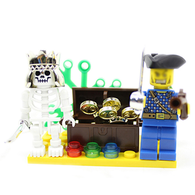 27pcs Pirate Ship Blocks Kids Skeleton Island Adventures Building Blocks Children Educational Bricks Toys for Boys K2540-312