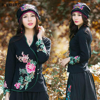 KYQIAO Ethnic skullies Mexican style spring autumn brand vintage embroidery flowers bandanas original black hat free shipping