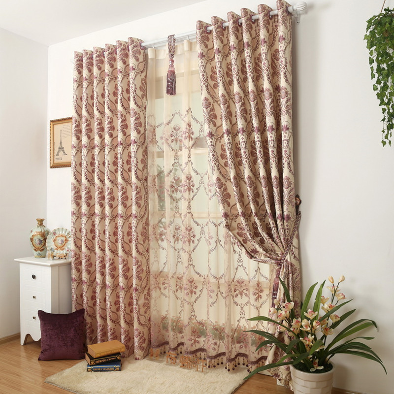 Double Layer Curtain Jacquard Living Room Fabric 150270cm2pcs Embroidery Tull