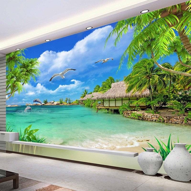 Us 8 3 54 Off Hd Coconut Tree Seaside Landscape Nature Wallpaper Living Room Theme Hotel Maldives Beach 3d Mural Papel De Parede 3d Paisagem In