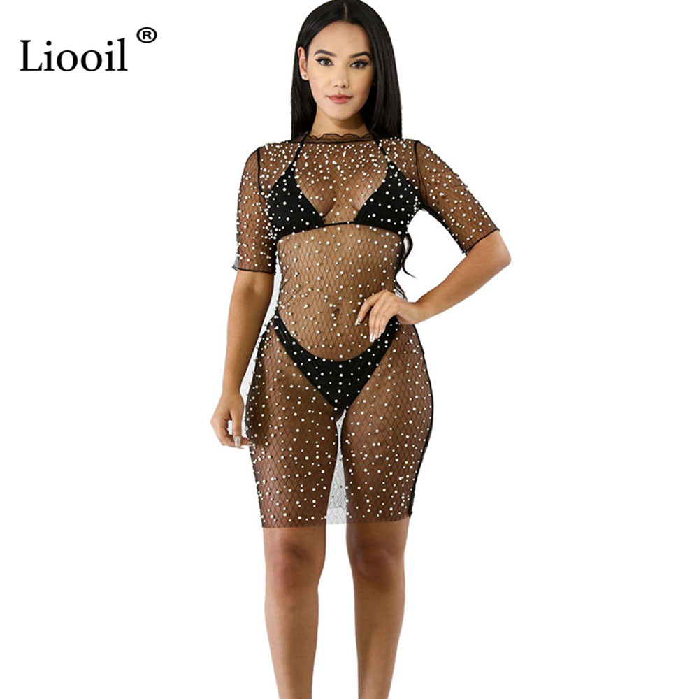 a6184087cd6 Liooil Sexy Club Mesh See Through Beading Mini Dress Women Fashion Short  Sleeve O Neck Party