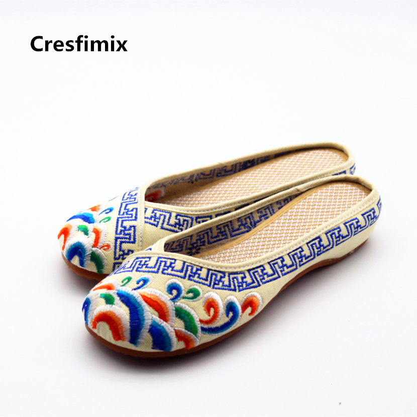 Cresfimix women cute spring & summer slip on slippers lady casual ribbon outside retro slides female vintage flat slippers cresfimix women cute spring