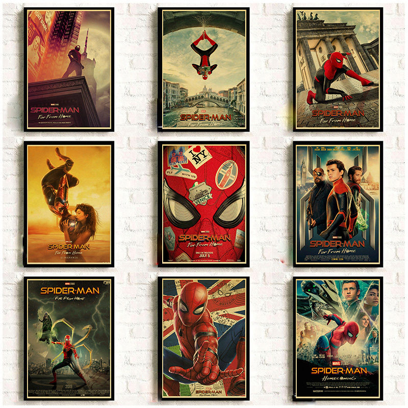 Spider-Man Far From Home Posters Kraft Paper Prints 2019 New Movie Super Hero Poster Home Room Cool Wall Decor Wall Stickers