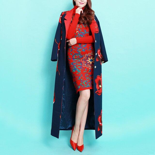 2016 Outono e Inverno Nova Moda de Ultra Longo das Mulheres Outwear Vintage Aumentou Jacquard Impresso Blusão Feminino Trench Coats