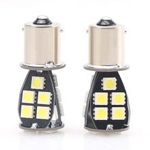 2pcs LED 1156 BA15S Turn Signal Light P21W S25 18 Led 5050 Chips Brake Lights 6000K White DRL Reverse Lamp Bulb Car Accessories