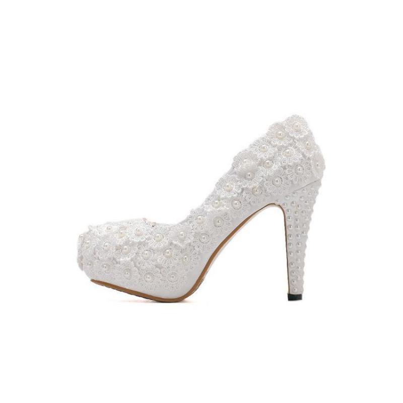 Femmes Fleur Dentelle Clair Cm Petite Pompes Pointu De Bout Correspondance Sacs Chaussures 1 Talon Femme Blanc Mariée Étrange Mariage 10 Avec x7CxdOtn