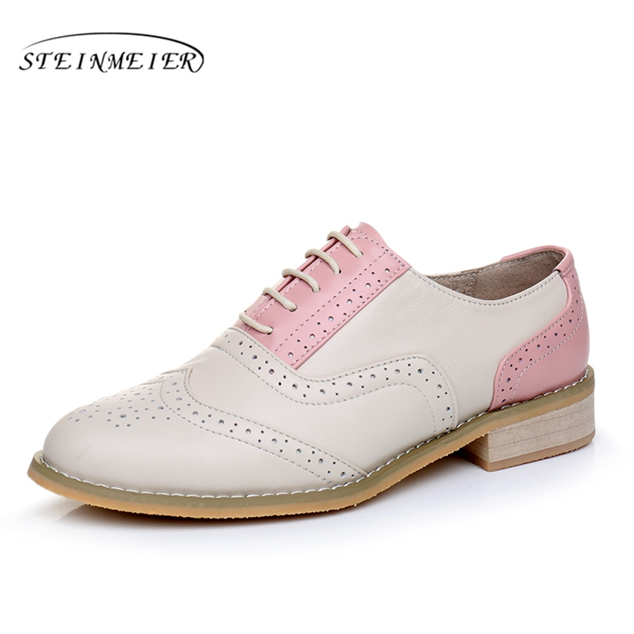 Genuine leather big woman US size 11 designer vintage flat shoes round toe handmade pink beige oxford shoes for women with fur genuine leather woman size 9 designer yinzo vintage flat shoes square toe handmade brown beige red oxford shoes for women 2018