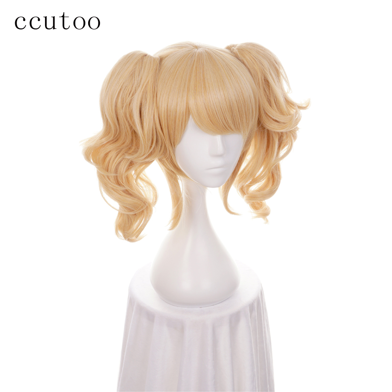 Ccutoo Batman Harley Quinn Golden Blonde Mix Short Curly Synthetic Hair Cosplay Costume Wigs With Chip Ponytails Heat Resistance