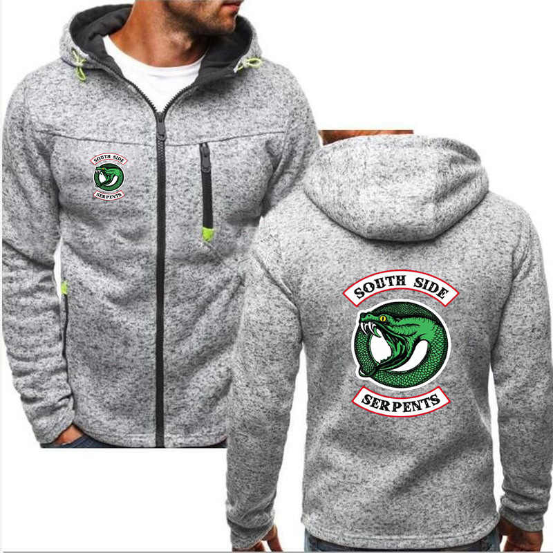 Man Hoodies Riverdale South Side Serpents Harajuku Coats Sweatshirt Zipper Jacket Streetwear Unisex Popular Keep Warm Cotton N01