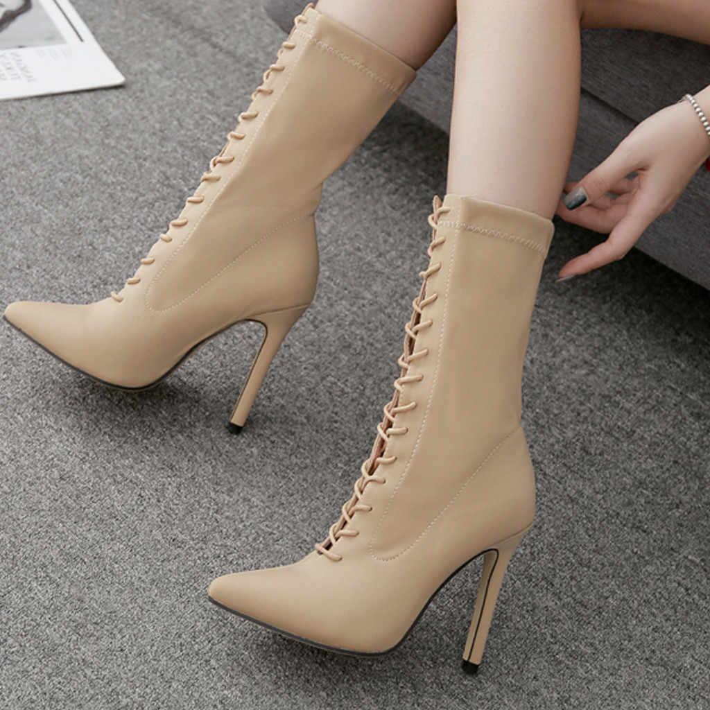 ฤดูใบไม้ร่วงผู้หญิงฤดูหนาวรองเท้าสีทึบต้นขาสูงรองเท้า Stiletto เคล็ดลับเข่ารองเท้ารองเท้าส้นสูงรองเท้าผู้หญิง sapatos
