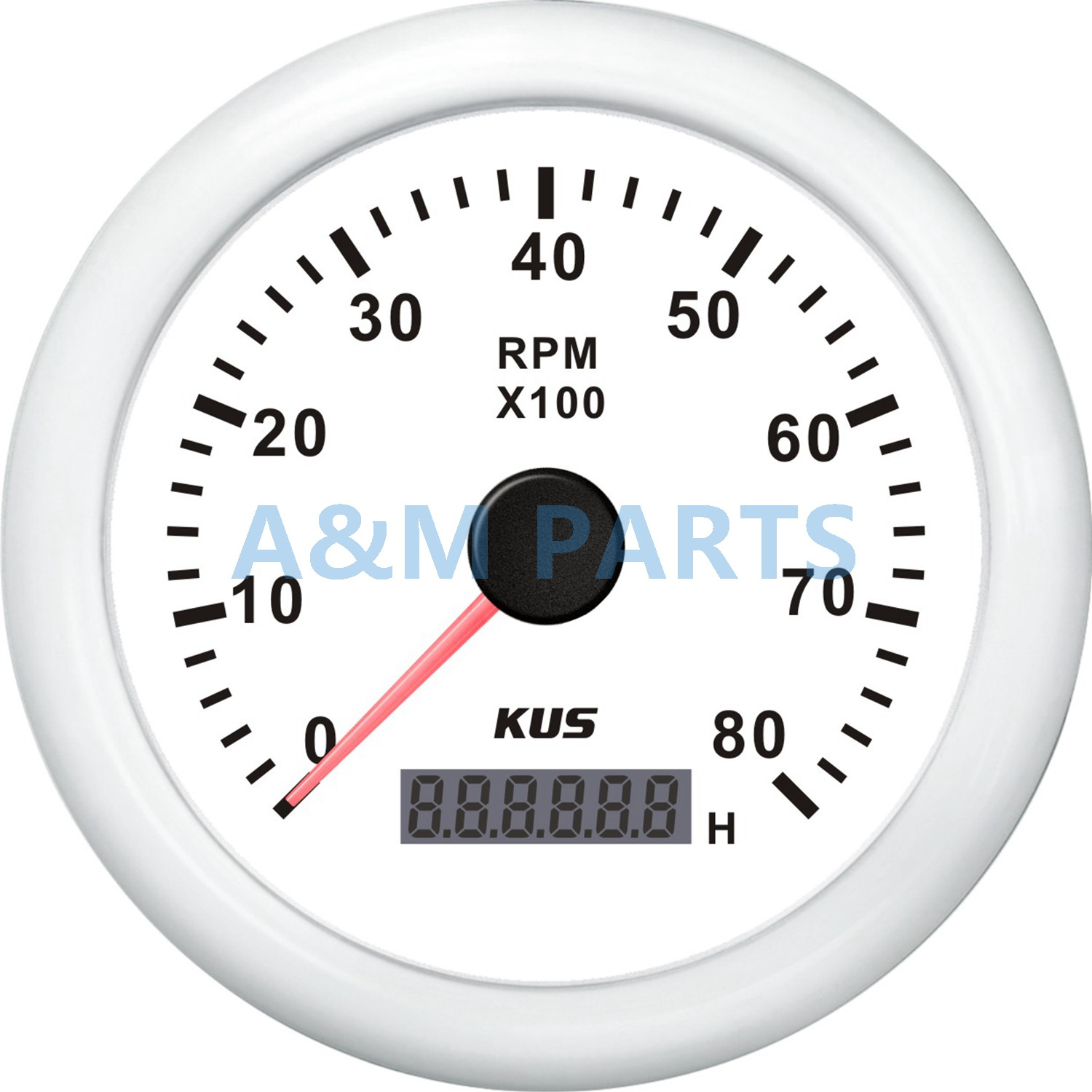 KUS Boat Engine RPM Meter LCD Hourmeter Tacho Gauge White 12V/24V 8000RPM датчик kus 12v 24v