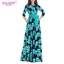 S. SAVEUR Femmes Bohème robe longue vente Chaude Automne hiver mode impression robes pour femme bonne qualité femmes élégant robe