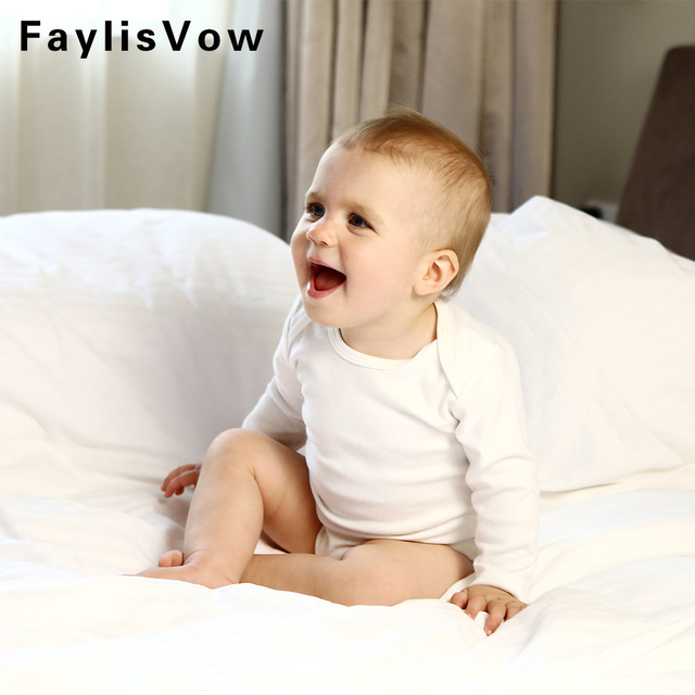 269980033 Baby Long Sleeve Cotton Romper Boys Girls Solid White Jumpsuit ...