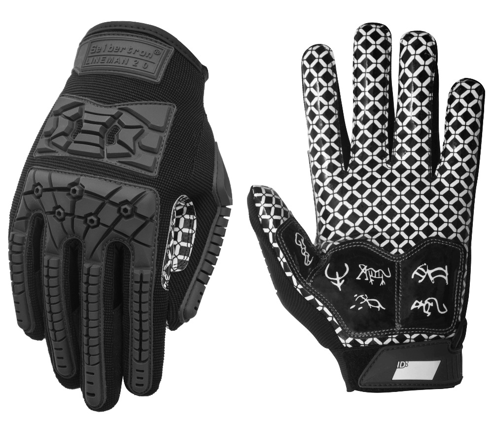 Seibertron Lineman 2.0 Padded Palm Football Receiver Gloves, Flexible TPR Impact Protection Back Of Hand Glove Adult Sizes