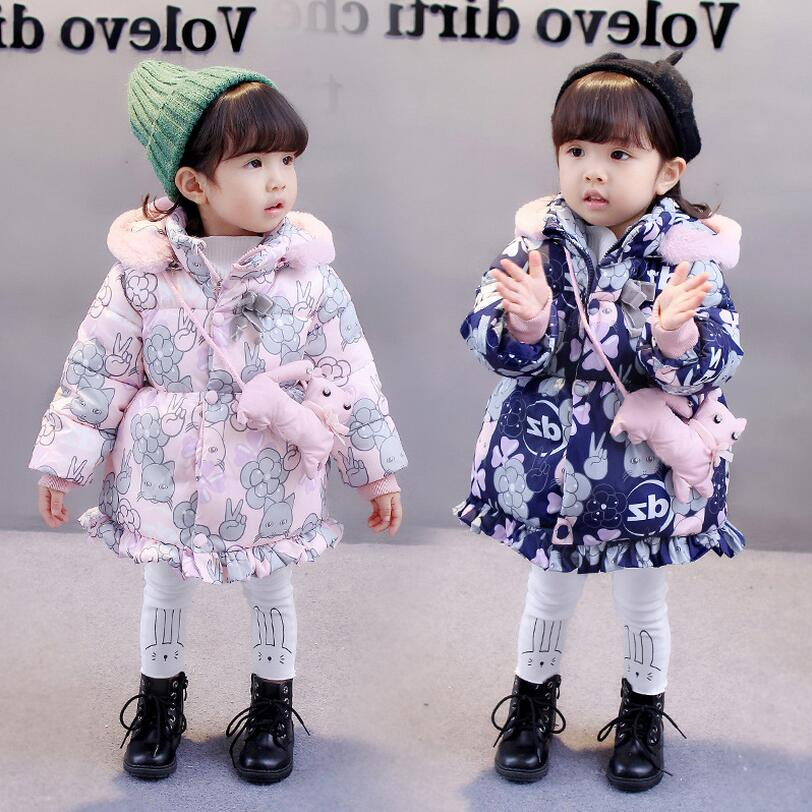 2018 Winter Warm Hooded Jackets For Infant Girl Fashion Floral Warm Down Coat Outerwear Toddler Baby Clothing Kids Clothes girl jackets coat for winter baby girl down