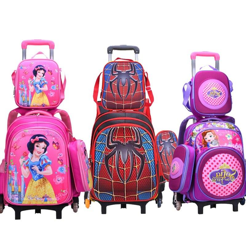 Wenjie brat dzieci Mochilas torby szkolne dla dzieci z plecak na kółkach bagażu dla chłopców dziewcząt plecak Mochila Infantil Bolsas w Torby szkolne od Bagaże i torby na  Grupa 1