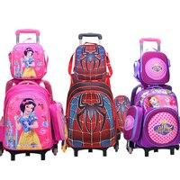Wenjie kardeş Çocuk Mochilas Çocuklar okul çantaları Tekerlekli Arabası Bagaj Için erkek Kız sırt çantası Mochila Infantil Bolsas