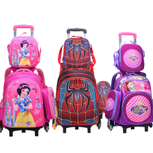 цены  2016new Children School Bags Mochilas Kids Backpacks With Wheel Trolley Luggage For boys Girls backpack Mochila Infantil Bolsas