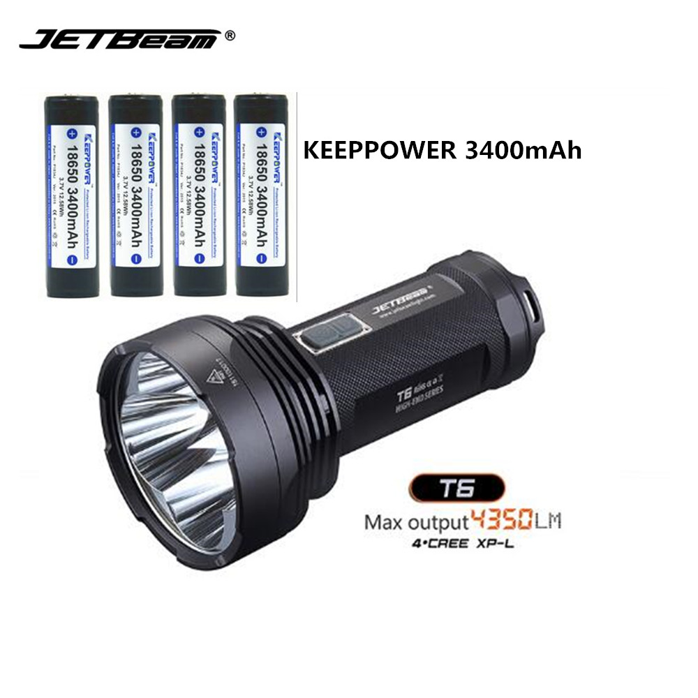 Camping light LED Flashlight JETbeam T6 4*CREE XP-L LED Max.4350 LM beam throw 750 meters +4pcs KEEPPOWER 3400mAh batteries jetbeam t6 4 cree xp l 4350 lumens led flashlight 4 modestactical light compatible by 3 18650 battery for self defense