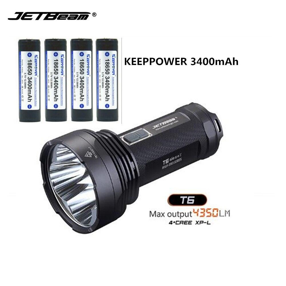 Camping lumière LED lampe de Poche JETbeam T6 4 * CREE XP-L LED Max.4350 LM faisceau jeter 750 mètres + 4 pcs KEEPPOWER 3400 mAh batteries