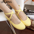 LIN KING Plus Size Women Ankle Strap Summer Flat Shoes Sexy Buckle Strap Casual Round Toe Cross Bandage Nurse Flats Lolita Shoes