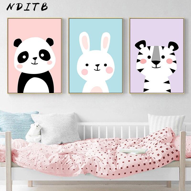 Nditb Bebe Pepiniere Mur Art Toile Peinture Animal Panda Lapin Affiche Et Imprime Nordique Enfants Decoration Photo Chambre Decor