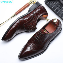 QYFCIOUFU Classic Men's Formal Dress Derby Office Shoes Genuine Leather Handmade Wedding Party Flats Pointed Toe Crocodile Shoes italian handmade man derby formal dress party shoes genuine leather derby wedding oxfords pointed toe men s bridal flats sf11