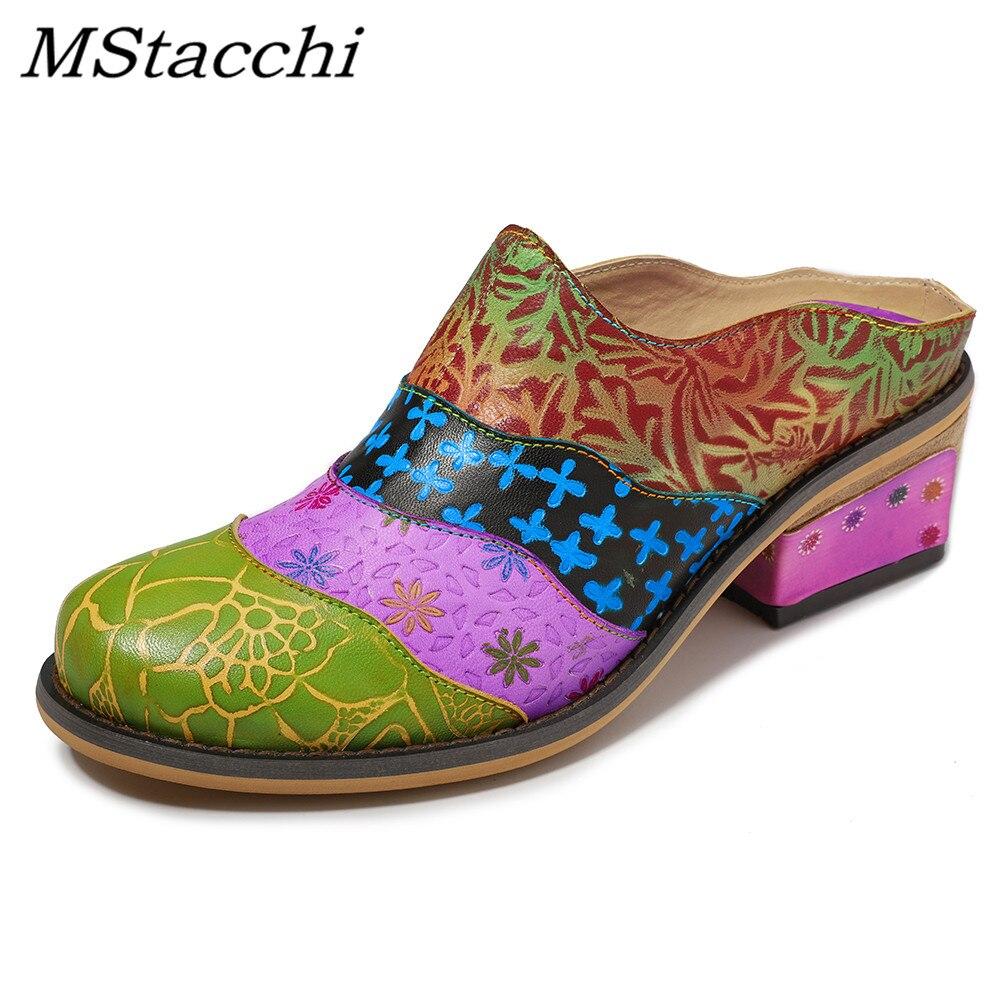 MStacchi Chic ethnique femmes fleurs unique chaussures sans lacet bohême bout rond pompes chaussures en cuir véritable Zapatos Mujer chaussures décontractées