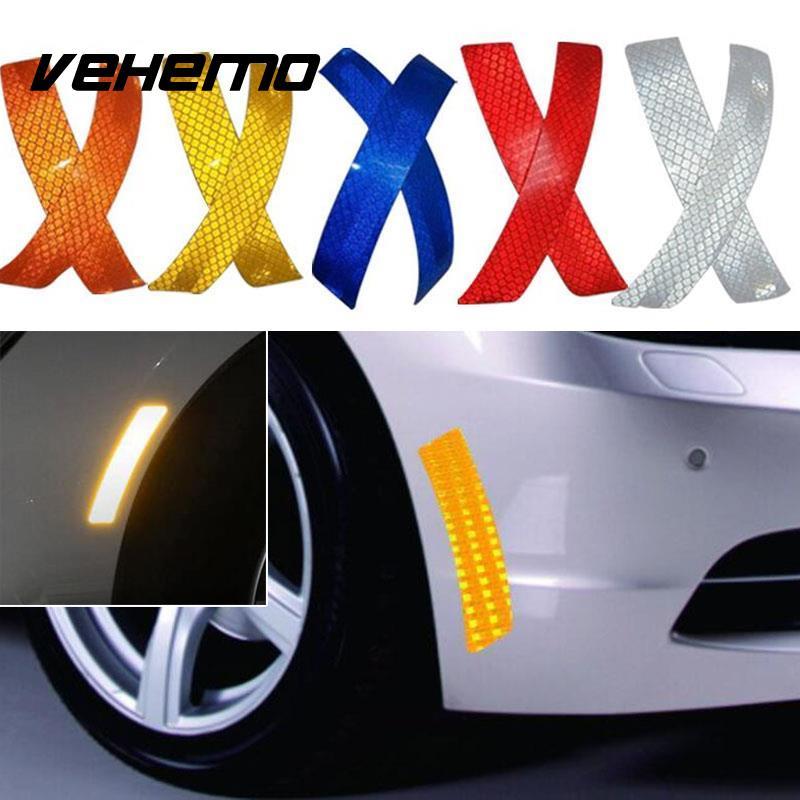 2Pcs Car Wheel Rim Eyebrow Reflective Warning Strip Stickers Safety Warning Light Reflector Protective Sticker Car Styling