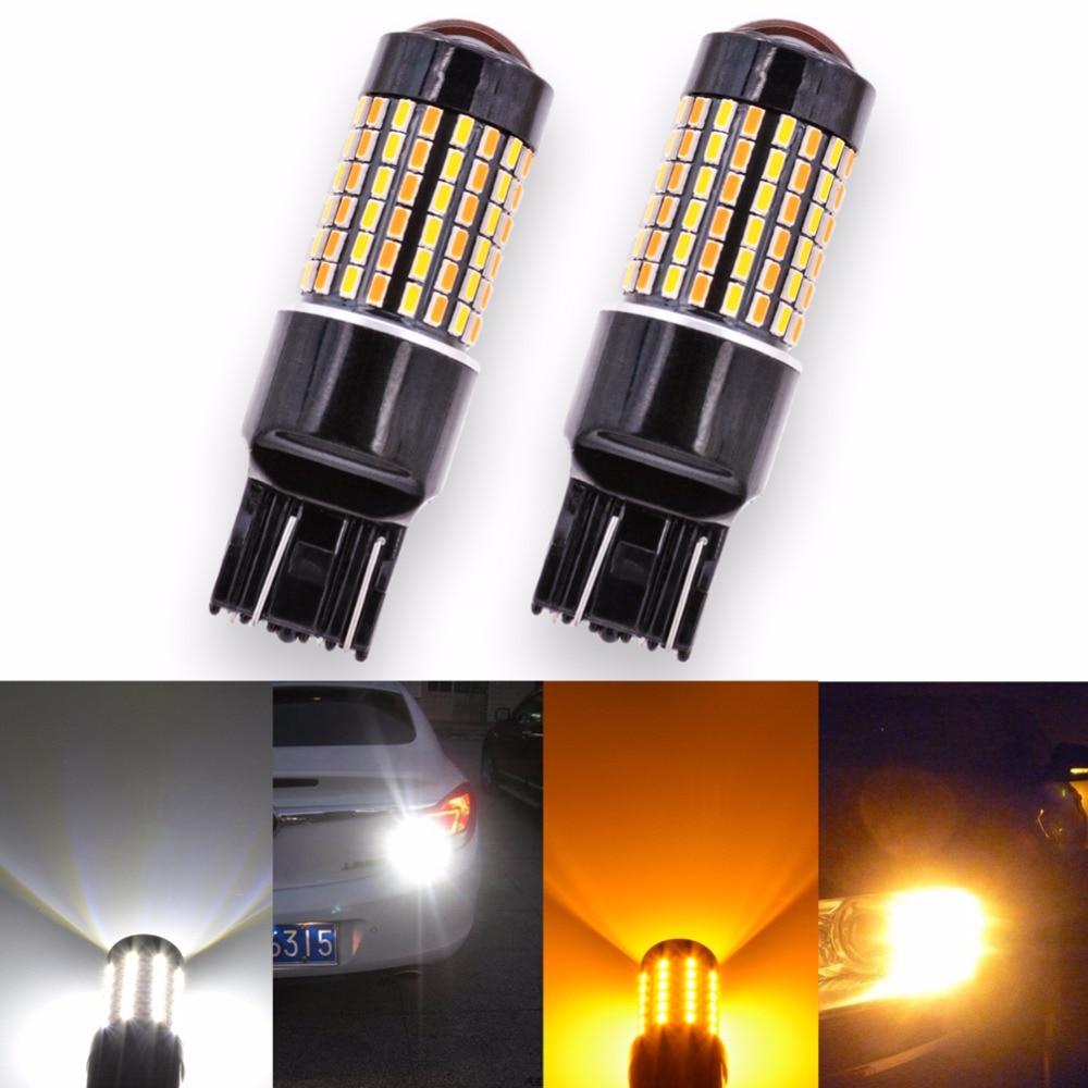 Katur 2PCS LED T20 7443 Switchback Led Turn Signal Light White&Yellow Dual Color Led DRL Daytime Running Light DC12 P21/5W 3157