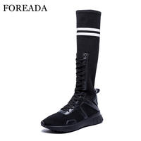 FOREADA Sock Boots Knee High Boots Women Autumn Stripe Lace Up Tall Boots Causal Ladies Sneakers Flat Platform Shoes White Black