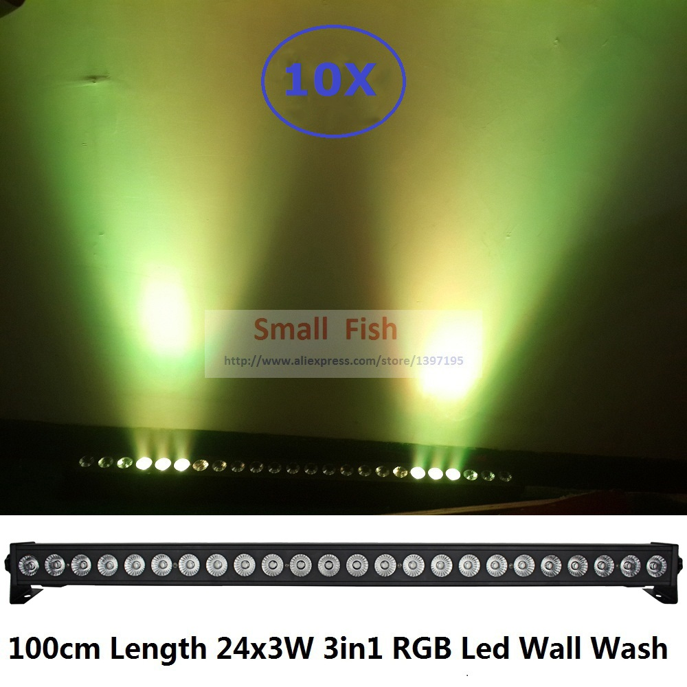 10X 2019 New Coming Stage Light 24x3W RGB 3IN1 LED Bar Wall Wash Light DMX512 Indoor