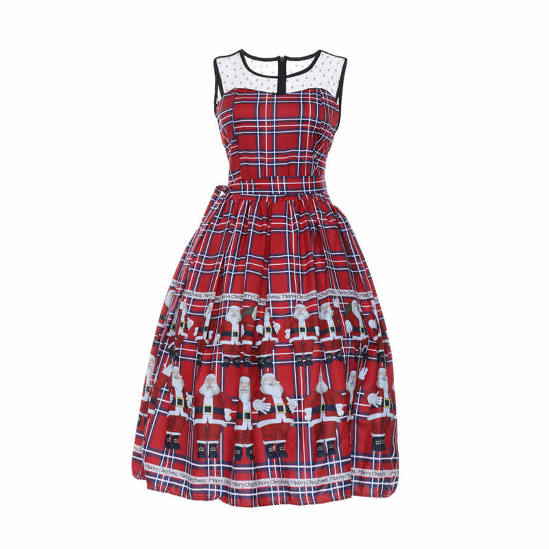 964525c761a Winter Dress 2018 Women Casual Vintage Christmas Plaid Santa Claus Sheer  Printed Lace Insert Swing Dress