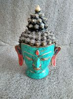 6.69 inch / Elaborate Chinese ancient cloisonne copper Buddha Head Statue