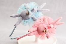 10pcs Fashion Cute Glitter Lace Stuffed Buny Girls Hard Hair Bands Solid Kawaii Rabbit Girls Headbands Headware Accessories