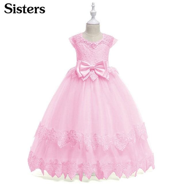 SISTERS 2018 new girls wedding evening dress children s wear girls dress  lace long dress princess elegant dress 3-12 years ca8d3bcfec8b