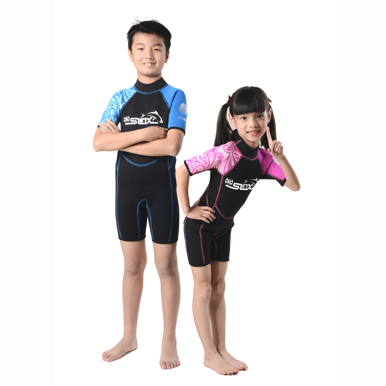Slinx child for 3m m submersible short sleeve suit warm sunscreen swimwear red green blue